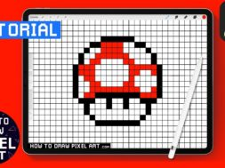 How To Draw a Mushroom Mario Pixel Art iPad Procreate