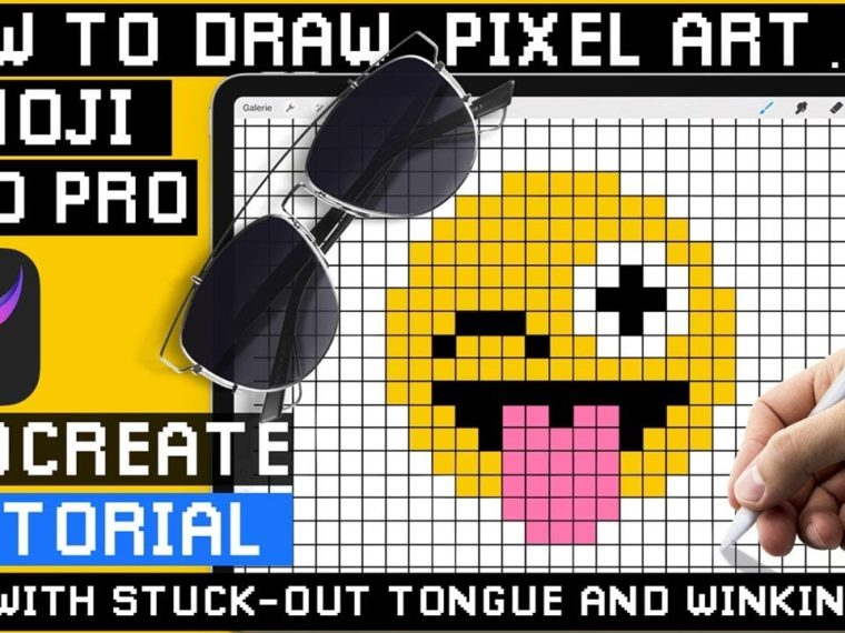 How to Draw Emoji 😜 Winking with Tongue Sticking Out – Procreate Pixel Art