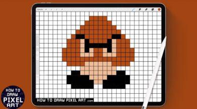 How to Draw Goomba | Pixel Art Tutorial | Super Mario Bros | クリボー Procreate